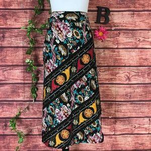 RQT Skirt size 16 Black Pink Floral Tropical Boho
